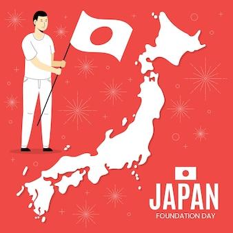 Dia da fundação plana homem segurando uma bandeira no japão