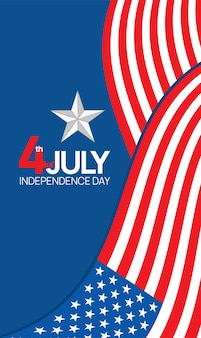 Dia da independência, 4 de julho feriado de quatro de julho design de cartaz com símbolos da bandeira dos estados unidos e estrela vermelha azul e branca.