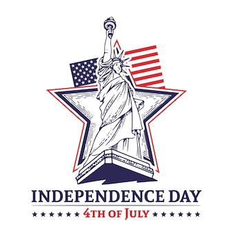 Dia da independência 4 de julho handrawn com estrela