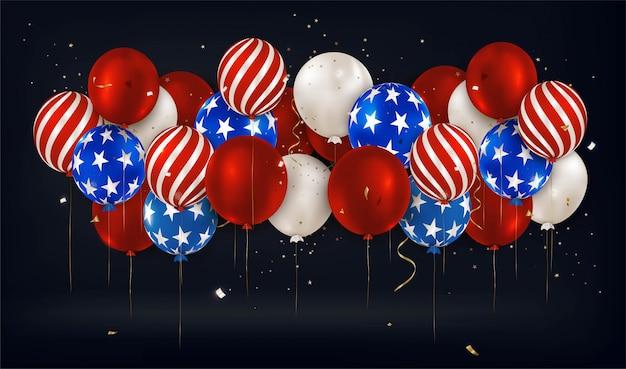 Dia da independência americana. banner horizontal panorâmica com balões em um preto. 4 de julho. memorial day dos eua.