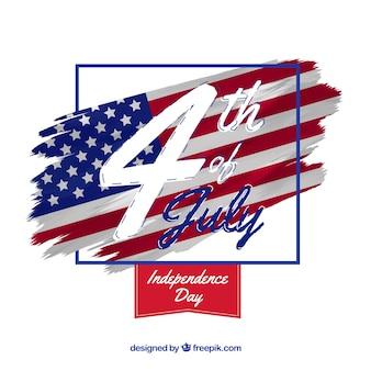 Dia da independência americana com bandeira e data