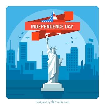 Dia da independência americana com estátua de libe