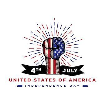 Dia da independência americana com mão detalhada desenho premium vector
