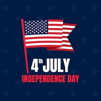 Dia da independência americana com uma bandeira americana.