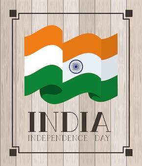 Dia da independência bandeira indiana com madeira