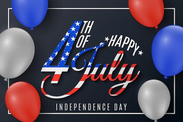 Dia da independência. cartão de presente para 4 de julho. balões voando no quadro. banner de texto festivo em um fundo preto. bandeira dos estados unidos da américa.
