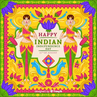 Dia da independência colorido do fundo da índia