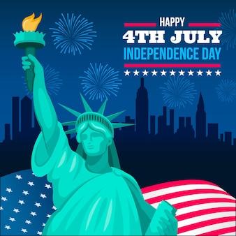 Dia da independência com a estátua da liberdade