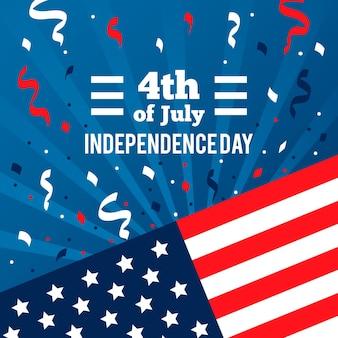 Dia da independência com bandeira e confetes