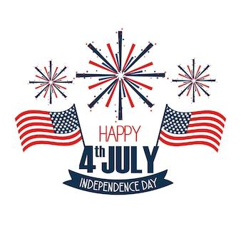 Dia da independência com bandeiras e fogos de artifício celebração