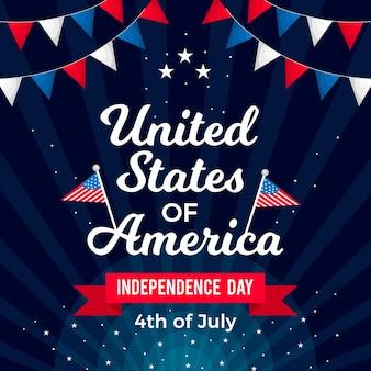 Dia da independência com bandeiras e guirlandas