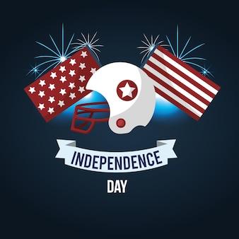 Dia da independência com capacete americano e fita