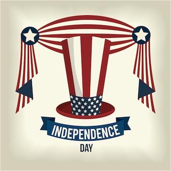 Dia da independência com design de chapéu e fita