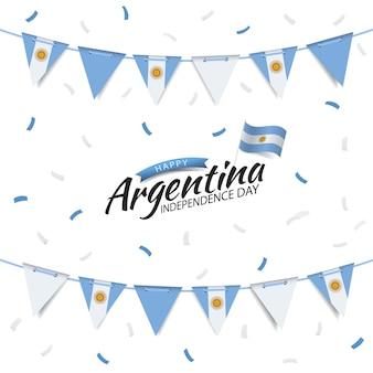 Dia da independência da argentina garland com a bandeira da argentina