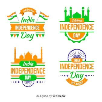 Dia da independência da coleção de crachá da índia