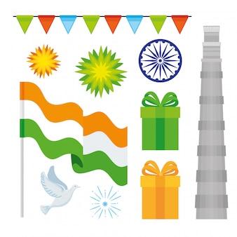 Dia da independência da índia, 15 de agosto, conjunto de ícones tradicionais