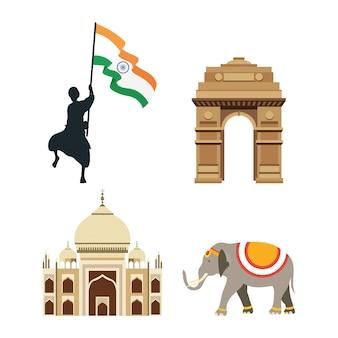 Dia da independência da índia com bandeiras e conjunto de ícones