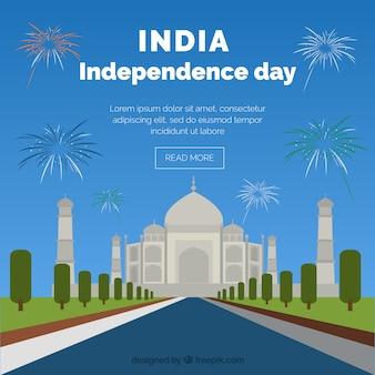 Dia da independência da índia com fundo de taj mahal