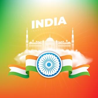Dia da independência da índia em fundo de cores
