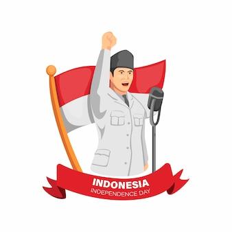Dia da independência da indonésia com a figura de bung karno, primeiro presidente da proclamação do discurso da indonésia em vetor de ilustração de desenho animado