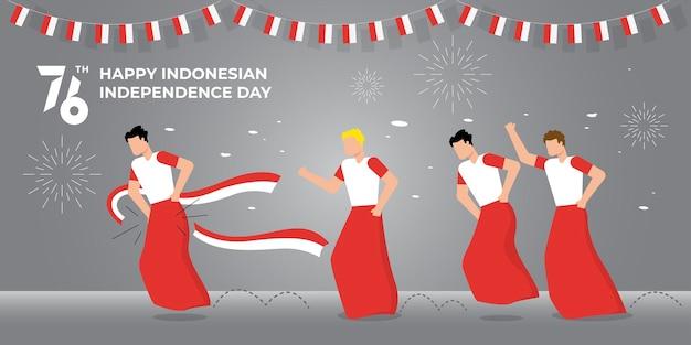 Dia da independência da indonésia com jogos tradicionais. 76 tahun dirgahayu indonésia se traduz em 76 anos comemorando o dia da independência da indonésia