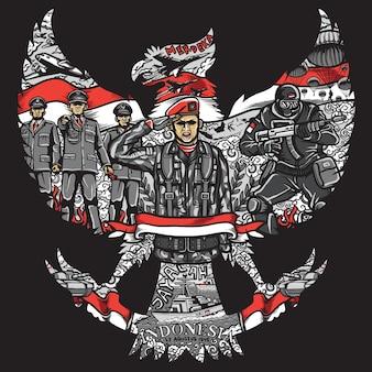 Dia da independência da indonésia em silhueta garuda pancasila