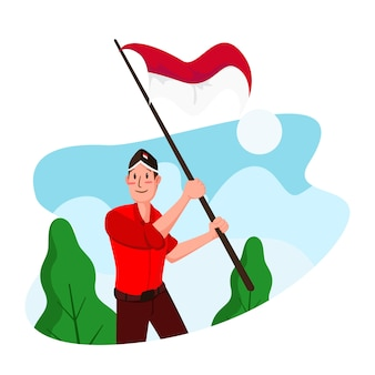 Dia da independência da indonésia ilustração plana