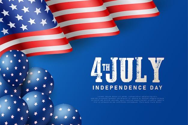 Dia da independência de 4 de julho com a bandeira americana e balões com estrelas.