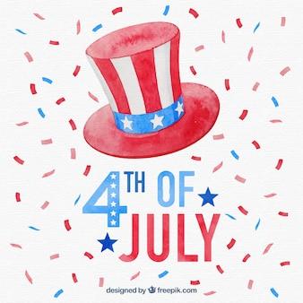 Dia da independência de 4 de julho de fundo em estilo aquarela