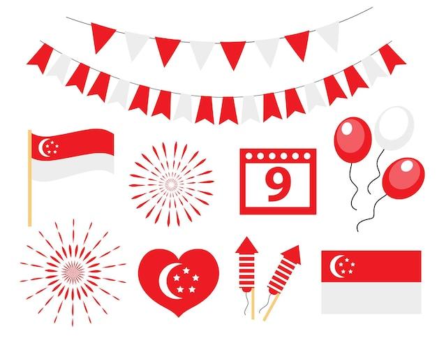 Dia da independência de singapura, conjunto de ícones do feriado nacional. ilustração vetorial.