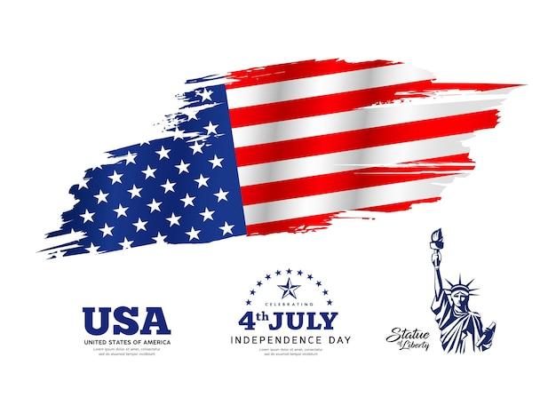 Dia da independência do desenho da pincelada da bandeira da américa com a estátua da liberdade
