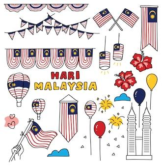 Dia da independência do elemento de design da malásia em estilo doodle