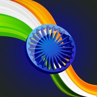 Dia da independência do emblema patriótico de índia