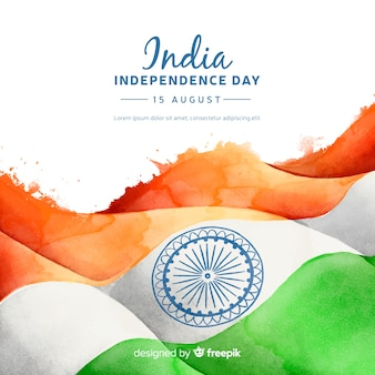 Dia da independência do estilo aquarela de fundo de india