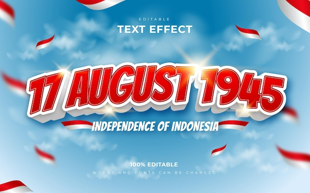 Dia da independência do estilo de efeitos de texto da indonésia