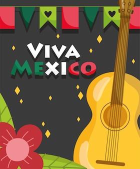 Dia da independência do méxico, decoração com flores e flâmulas para violão, viva méxico é comemorado na ilustração de setembro