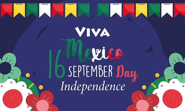 Dia da independência do méxico, decoração festiva de flores com flâmulas, viva méxico é comemorado na ilustração de setembro