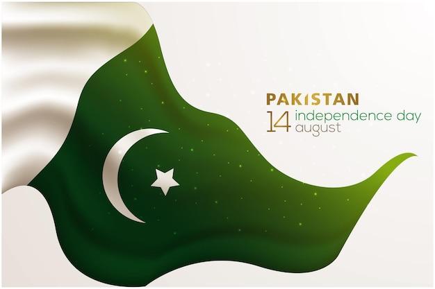 Dia da independência do paquistão, 14 de agosto, desenho vetorial de fundo de saudação com bandeira