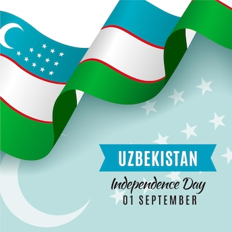 Dia da independência do uzbequistão com bandeira