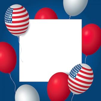 Dia da independência dos eua celebração banner modelo com balões americanos bandeira decoração