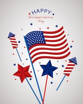 Dia da independência dos eua com fogos de artifício