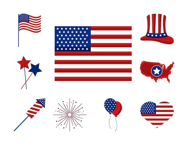 Dia da independência dos eua com nove ícones