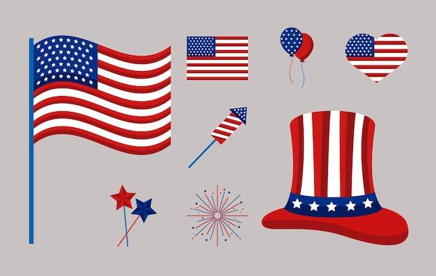 Dia da independência dos eua com oito ícones