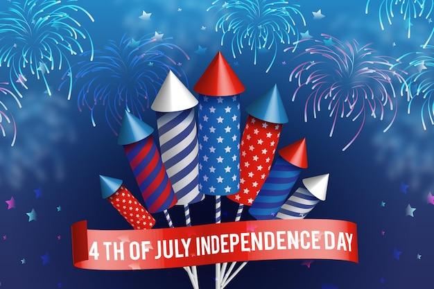 Dia da independência dos eua fogos de artifício realistas