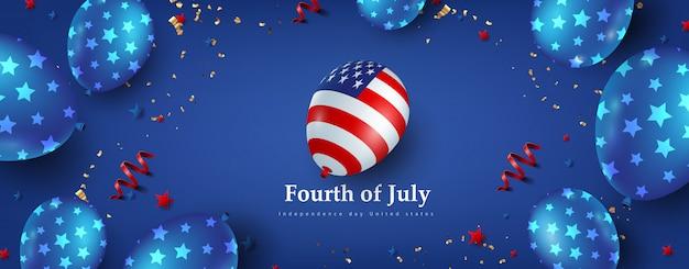 Dia da independência eua banner modelo americana balões decoração. 4 de celebração de julho