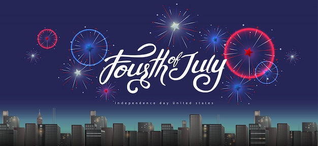 Dia da independência eua banner modelo fogos de artifício festivos exibir sobre a cidade.