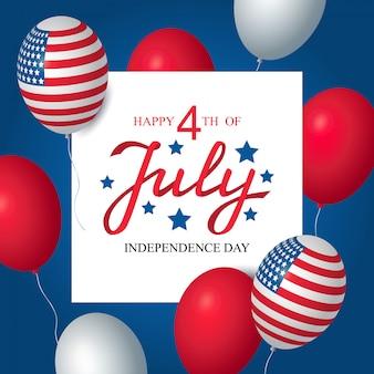 Dia da independência eua celebração banner modelo americano balões bandeira decoração