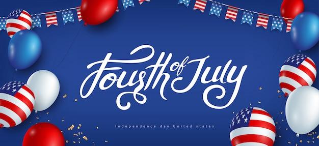 Dia da independência eua modelo de banner americano balões bandeira e sinalizadores decoração de guirlandas. celebração de 4 de julho