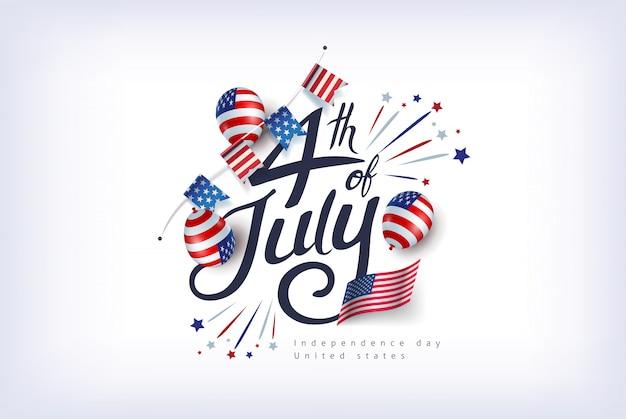 Dia da independência eua modelo de banner americano balões decoração de bandeira e bandeiras. celebração de 4 de julho