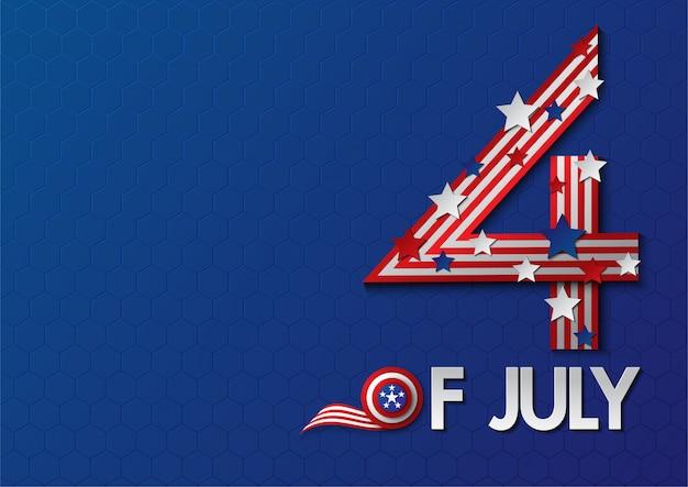 Dia da independência eua modelo de banner de celebração.